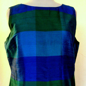 Wide Striped Raw Silk Fully Lined Sleeveless Top